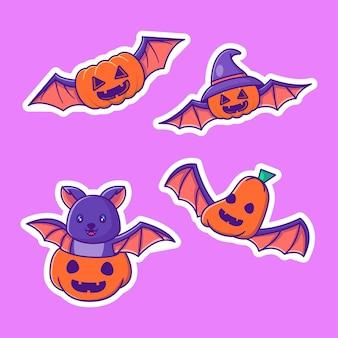 Коллекция наклеек на хэллоуин с милыми тыквенными летучими мышами