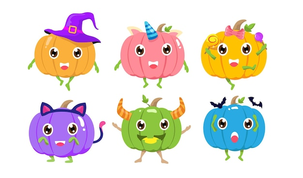 Halloween cute pumpkins cartoon character design. happy squash collection with colorful color. set of spooky pumpkin costume vector illustration.