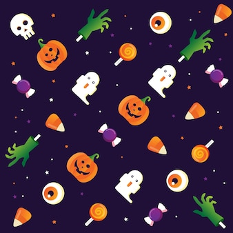 Halloween cute seamless pattern with ghost monsters hand pumpkin