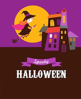 Halloween cute vector greeting card with witch and haunted house, castle
