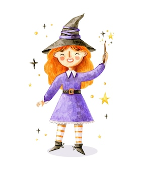 Halloween cute witch illustration