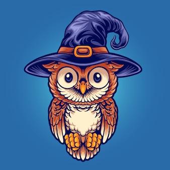 Хэллоуин милая сова ведьма