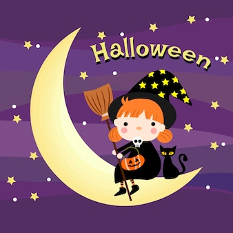 Halloween cute witch sit on the moon.