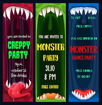 Halloween dance and creepy monsters party posters. monster toothed maws with sharp fangs and tongue in saliva cartoon vector. halloween celebration event flyer or leaflet template