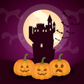 Halloween dark castle with pumpkins