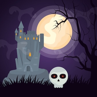 Halloween dark castle with skull head