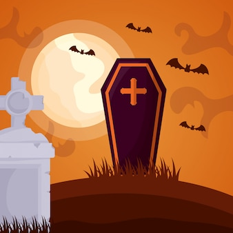 Halloween dark cemetery with coffin