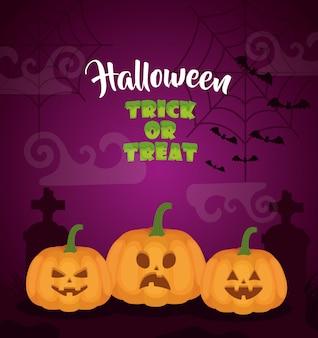 Halloween dark cemetery with pumpkins