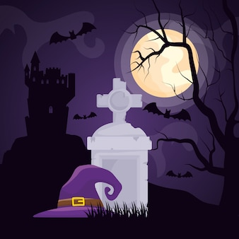 Halloween dark cemetery with witch hat