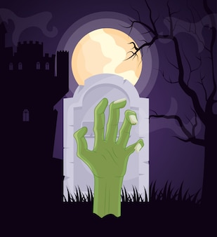Halloween dark cemetery with zombie hand
