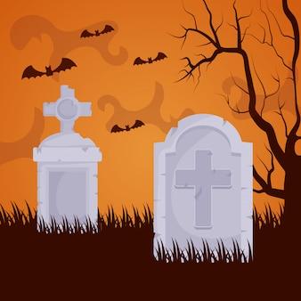 Cimitero oscuro di halloween