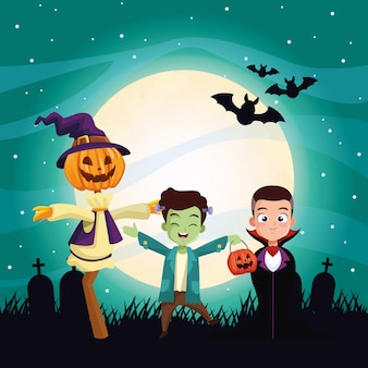 Halloween dark illustration with kids disguised characters