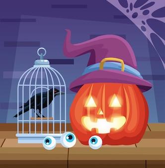 Halloween dark illustration with pumpkin