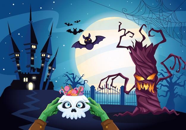 Halloween dark illustration with skull and candies