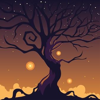 무서운 나무와 할로윈 어두운 밤 배경