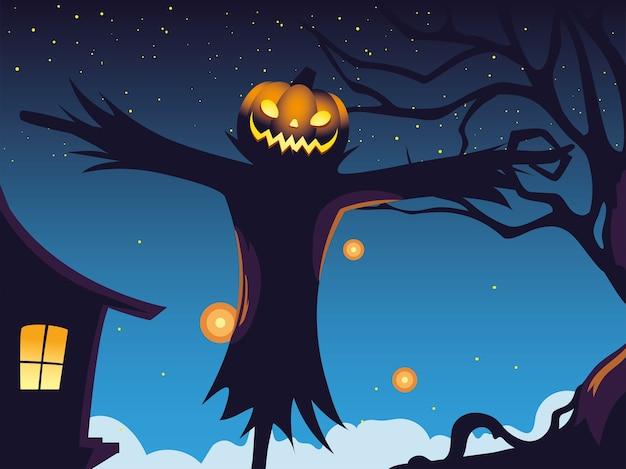 Хэллоуин темная ночь фон с пугалом