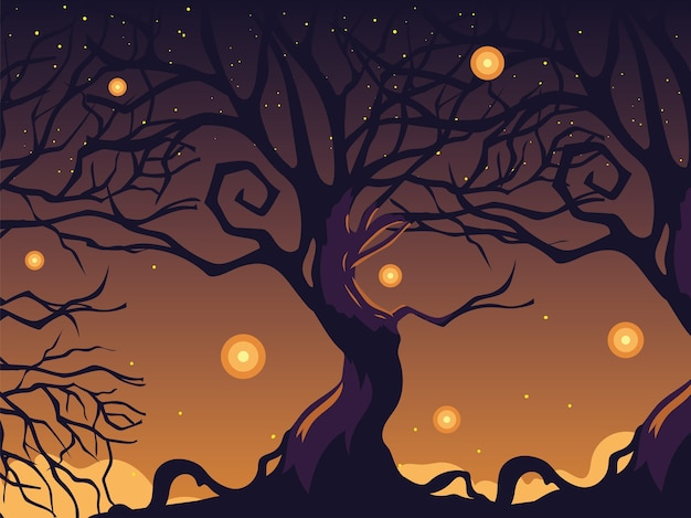 Halloween dark night background with scary tree