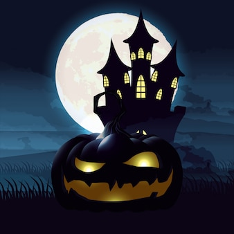 Halloween dark night scene with pumpkin and castle