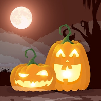 Halloween dark night scene with pumpkins