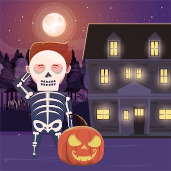 Halloween dark scene with person disguised skeleton