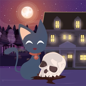 Halloween dark scene with skull head