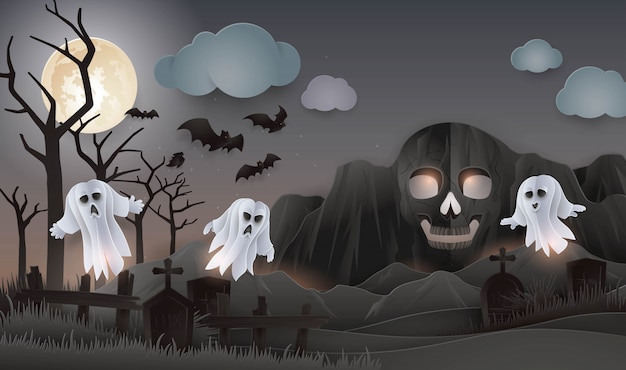 Halloween day, abstract skull rock mountain with ghost, monster, graveyard