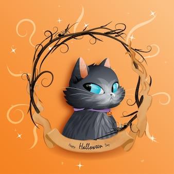 День хэллоуина и черная кошка.