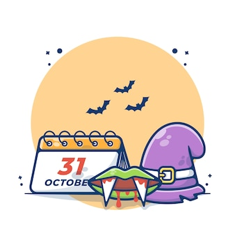 Halloween day calendar with wizard hat and dracula vector illustration
