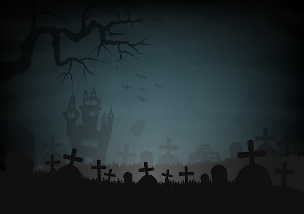 Halloween day and castle graves
