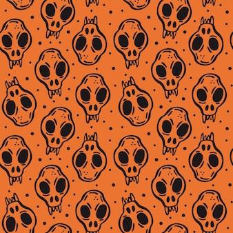 Halloween day of dead black ink vector seamless pattern animal skull skeleton head