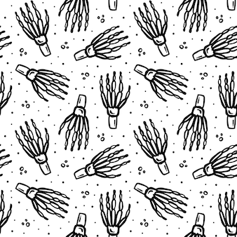 Halloween day of dead black ink vector seamless pattern human skeleton hand isolated