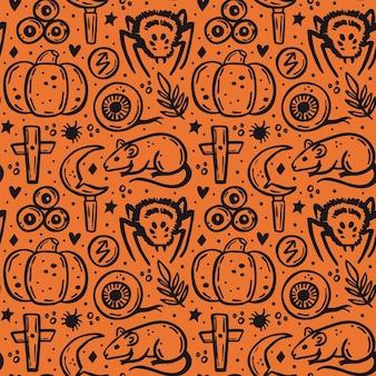 Halloween day of dead black ink vector seamless pattern pumpkin spider rat knife