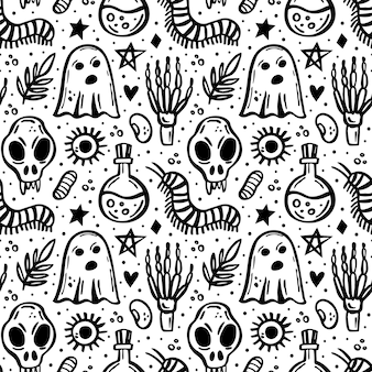 Halloween day of dead black ink vector seamless pattern witch elements ghost skeleton skull