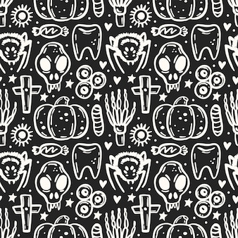 Halloween day of dead chalk board ink  seamless pattern skull spider insect skeleton