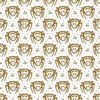 Halloween day of dead golden ink  seamless pattern poisonous spider insect isolated