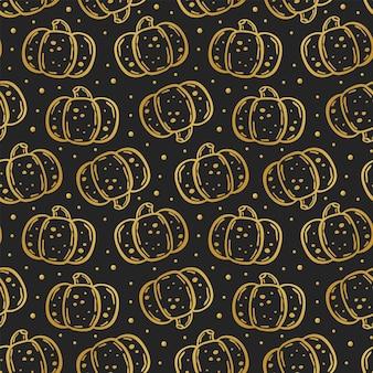 Halloween day of dead golden ink vector seamless pattern elegant pumpkin design isolated