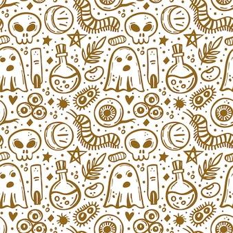 Halloween day of dead golden ink vector seamless pattern ghost eye skullmoon insect bacteria