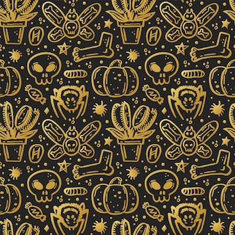 Halloween day of dead golden ink vector seamless pattern pumpkin spider skull candy insect
