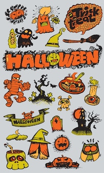Halloween day hand drawn collection