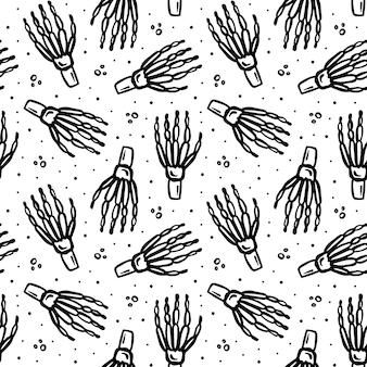 Хэллоуин день мертвых черных чернил вектор бесшовные модели человеческого скелета рука изолированные