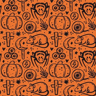 Хэллоуин день мертвых черных чернил вектор бесшовные тыквы паук крыса нож