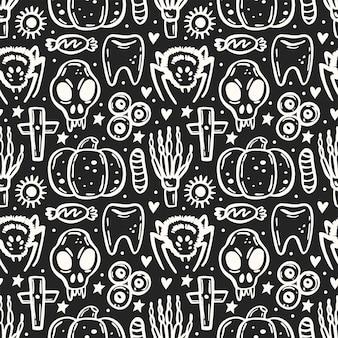죽은 분필 보드 잉크 원활한 패턴 해골 거미 곤충 해골의 할로윈 날 프리미엄 벡터