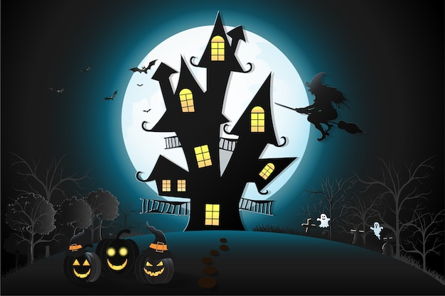 Halloween day pumpkins with night castle.