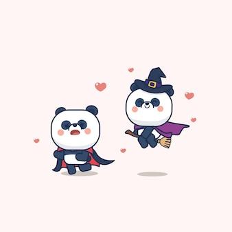 かわいいパンダのグリーティングカード入りハロウィーンの日