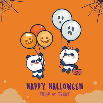 Halloween day set with cute panda greeting card