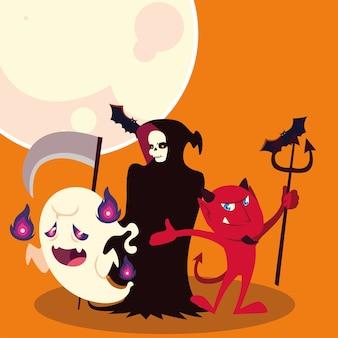 Хэллоуин смерть призрак и дизайн мультфильмов дьявола, праздник и страшная тема иллюстрации