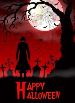 Смерть на хэллоуин с мрачным жнецом в лесу