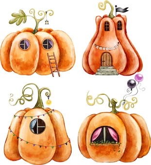 Halloween decor pumpkin houses with windows and flags painted in watercolor