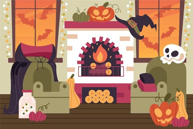 Halloween decorated home interior