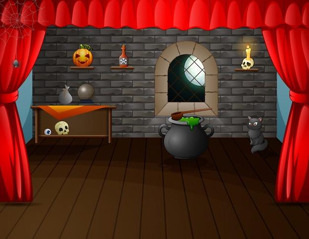 Хэллоуин украшенная комната на сцене иллюстрации